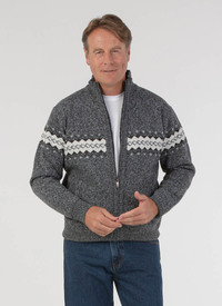 JACQUARD FLEECE LINED CARDIGAN