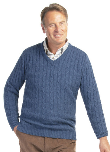 SOFT TOUCH CABLE KNIT V NECK JUMPER