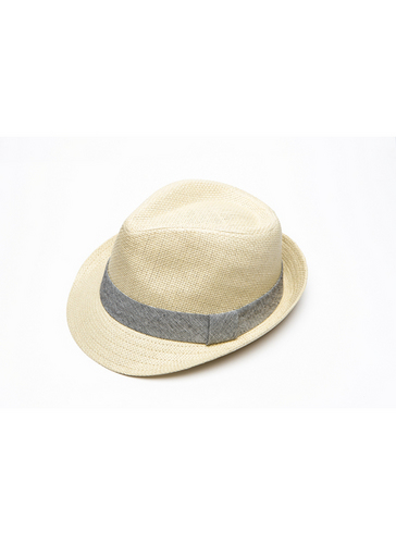 Paper Straw Trilby Hat With Band