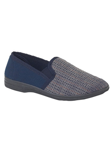 Classic Navy Herringbone Full Slippers
