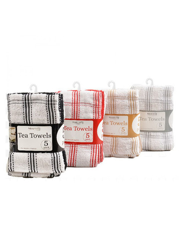 5 PACK TEA TOWEL COUNTRY CHECK