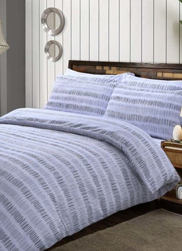 Seersucker Stripe Grey Duvet Set