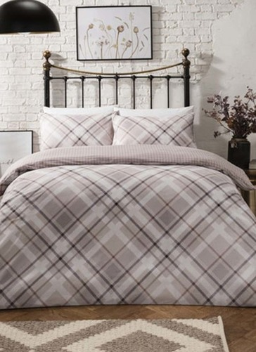 Diagonal Check Natural Duvet Set