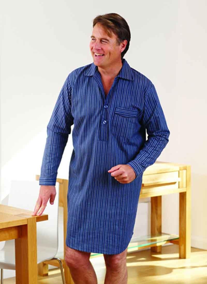 Mens Tom Franks Warm Brushed Cotton Nightshirt Sleepwear Nightwear Navy Med